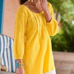 Soft Surroundings XL Yellow Cotton Pintuck Tunic